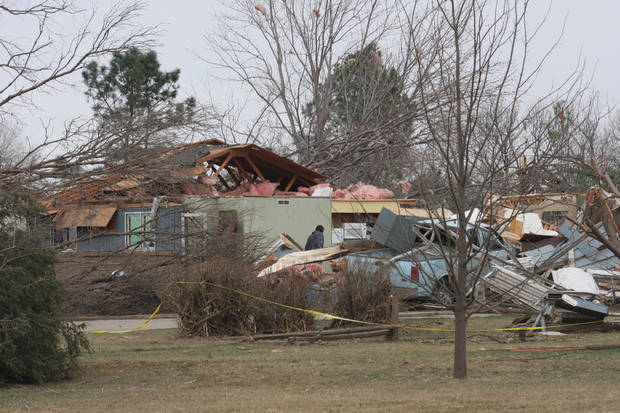 A home in Bailey Yard west of North Platte, Neb. suffered damage after a tornado hit the area Sunday, March 18, 2012. The National Weather Service says a tornado that hit the area Sunday night was rated an EF3 on the scale that measures the strengths of such storms, with top winds of 165 mph. (AP Photo/The Telegraph, Joe Volcek)