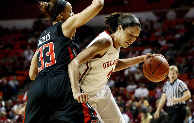 Oklahoma Sooner&#039;s Nicole Griffin (4) drives around Tech&#039;s Shauntal Nobles (33) as the University of Oklahoma Sooners (OU) play the Texas Tech Lady Red Raiders in NCAA, women&#039;s college basketball at The Lloyd Noble Center on Saturday, Jan. 12, 2013 in Norman, Okla. Photo by Steve Sisney, The Oklahoman