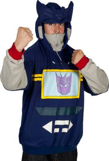 Chad wears a Soundwave costume hoodie from 80sTees.com.