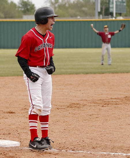 Verdigris's Ryan Hurd (5) reacts after the Cardinals scored a run during the 3A baseball semifinal game between Verdigris and Spiro on Friday, May 10, 2013, in Edmond, Okla.Photo by Chris Landsberger, The Oklahoman
