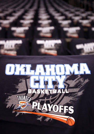 Shirts sit on seats before the NBA basketball game between the Denver Nuggets and the Oklahoma City Thunder in the first round of the NBA playoffs at the Oklahoma City Arena, Wednesday, April 27, 2011. Photo by Sarah Phipps, The Oklahoman