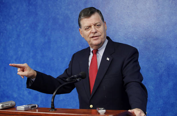 U.S. Rep. Tom Cole, R-Moore, announces he will seek re-election in the Fourth Congressional District during a press conference at the state Capitol in Oklahoma City Tuesday, June 1, 2010. Photo by Paul B. Southerland, The Oklahoman