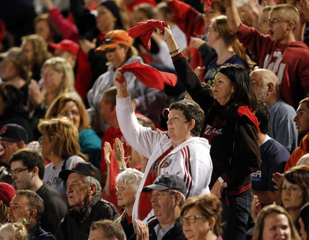 Carl Albert fans cheer as the Titans play the Del City Eagles in Class 5A, first round, playoff action in high school football on Friday, Nov. 9, 2012 in Del City, Okla.   Photo by Steve Sisney, The Oklahoman