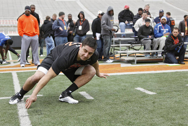 Justin Gent runs through the shuttle drill during the NFL pro day at Oklahoma State University on Wednesday, March 9, 2011, in Stillwater, Okla.  Photo by Chris Landsberger, The Oklahoman
