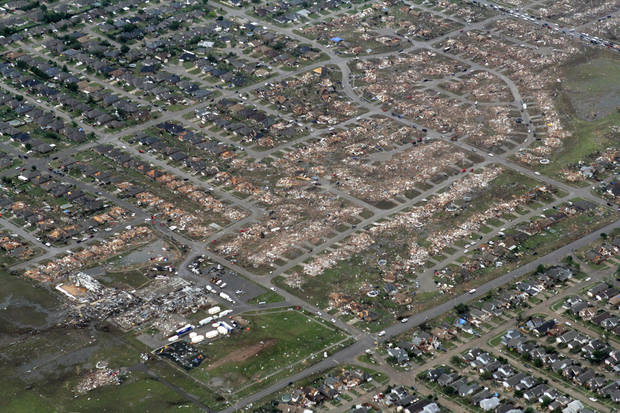 The path of destruction can be seen extending to the east (right) from Briarwood Elementary School in Moore, OK, Tuesday, May 21, 2013,  By Paul Hellstern, The Oklahoman