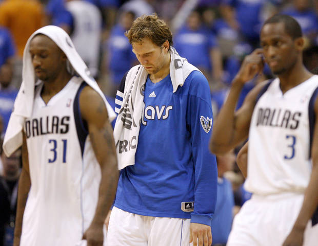 Dallas' Dirk Nowitzki walks off the court after Game 3 of the first round in the NBA playoffs between the Oklahoma City Thunder and the Dallas Mavericks at American Airlines Center in Dallas, Thursday, May 3, 2012. Oklahoma City won 95-79. Photo by Bryan Terry, The Oklahoman