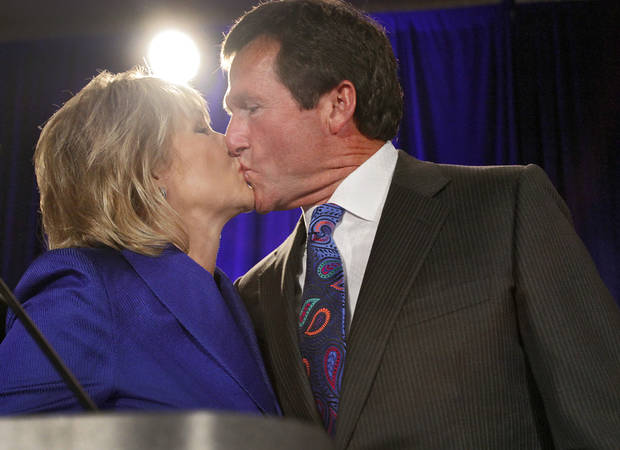 Mary Fallin receives a kiss from her husband Wade Christensen at the republican Watch Party at the Marriott on Tuesday, Nov. 2, 2010, in Oklahoma City, Okla.   Photo by Chris Landsberger, The Oklahoman