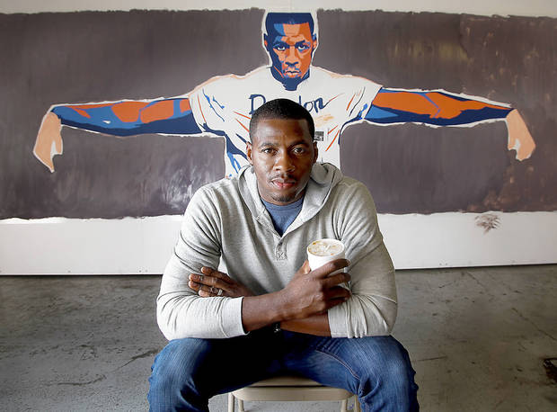 Artist and former NBA player Desmond Mason poses for a photo on Thursday , Dec. 6, 2012, in Oklahoma City, Okla.   Photo by Chris Landsberger, The Oklahoman
