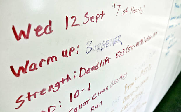 Part of the warm up is listed on the white board at Crossfit Native <strong>CHRIS LANDSBERGER - CHRIS LANDSBERGER</strong>