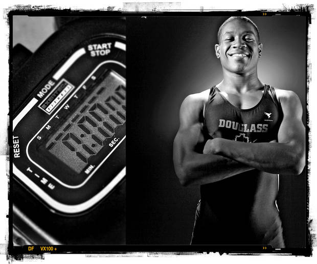 SECOND PLACE, PHOTO PACKAGE:  Douglass High School's Da'Sor Horton track player of the year Spring sports honor roll shot in the OPUBCO studio on Thursday, May 22, 2008, in Oklahoma City, Okla.  staff photo Illustration by CHRIS LANDSBERGER