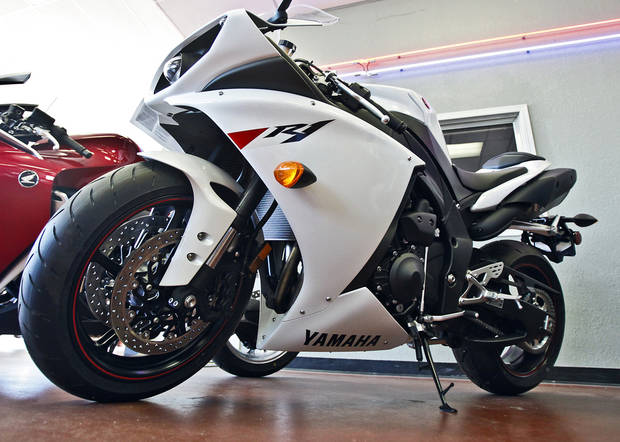 A Yamaha YZF-R1 motorcycle at Maxiey's Cycle. Photo by Chris Landsberger, The Oklahoman