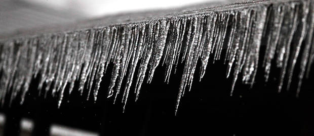 Icicles on the front eaves of a house, Thursday,  Jan. 28, 2010. Photo by Jim Beckel, The Oklahoman