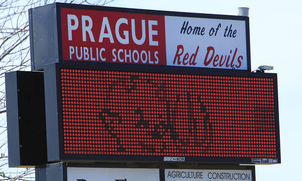 The Prague Public Schools sign is shown Monday, Aug. 20, 2012. Photo By David McDaniel/The Oklahoman <strong>David McDaniel - The Oklahoman</strong>
