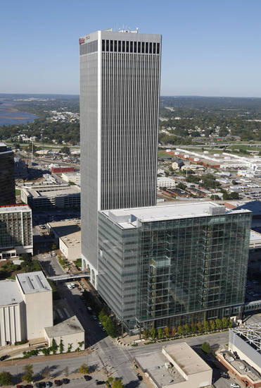 An aerial view photo of downtown Tulsa's skyline on Oct. 18, 2007 with the new city hall and the BOK tower. TOM GILBERT/TULSA WORLD