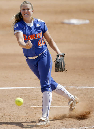Stacey Nelson of Florida pitches in the Women's College World Series game between Florida and Virginia Tech at ASA Hall of Fame Stadium in Oklahoma City, Saturday, May 31, 2008. BY BRYAN TERRY, THE OKLAHOMAN