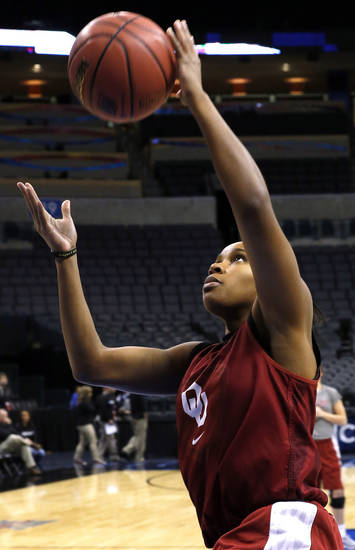 Oklahoma guard Jasmine Hartman (45) during the press conference and practice day at the Oklahoma City Regional for the NCAA women's college basketball tournament at Chesapeake Arena in Oklahoma City, Saturday, March 30, 2013. Photo by Sarah Phipps, The Oklahoman