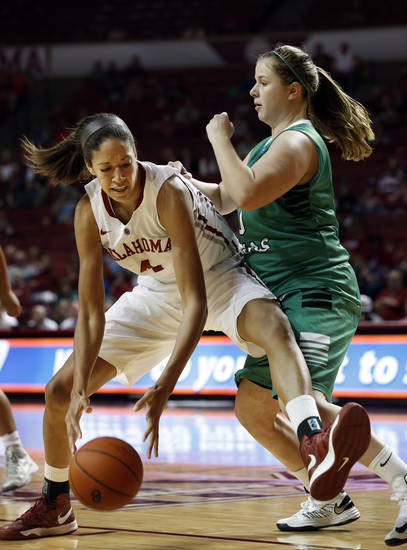 Oklahoma's Nicole Griffin (4) challenges North Texas' Sara Stanley (30) in the lane as the University of Oklahoma Sooners (OU) play the North Texas Mean Green in NCAA, women's college basketball at The Lloyd Noble Center on Thursday, Dec. 6, 2012  in Norman, Okla. Photo by Steve Sisney, The Oklahoman