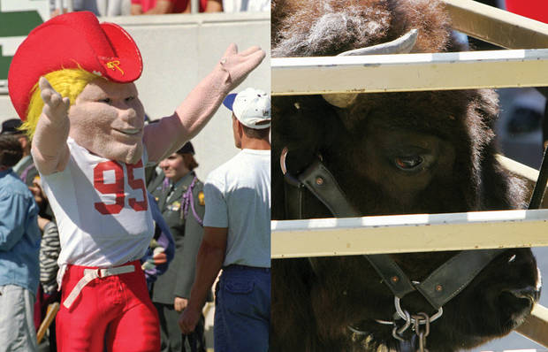 Colorado's Ralphie, right, is a favorite among Big 12 players. Nebraska's Herbie Husker, left, didn't fare as well in The Oklahoman's poll. Associated Press photos