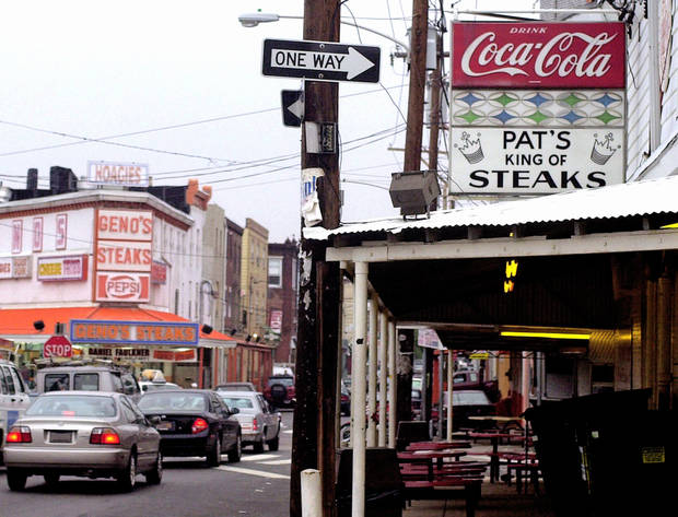 Pat's King of Steaks and Geno's Steaks are cheesesteak icons in Philadelphia. AP FILE PHOTO