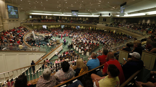 Moore educators fill the sanctuary at Southern Hills Baptist Church, 8601 Pennsylvania Ave., during a district-wide meeting of Moore Public Schools employees in Oklahoma City, Wednesday, May 22, 2013, after a tornado struck south Oklahoma City and Moore, Okla., on Monday. Photo by Nate Billings, The Oklahoman