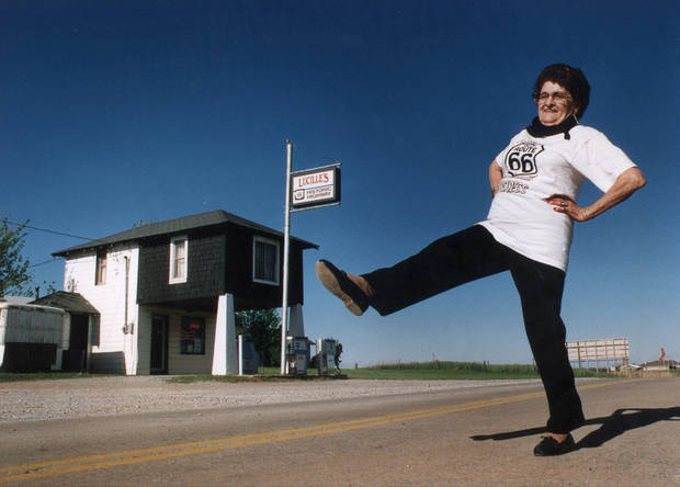 Lucille Hamons still gets her kicks on historic Route 66 in front of her service station west of Hydro, Oklahoma.  Staff photo by Jim Argo.
