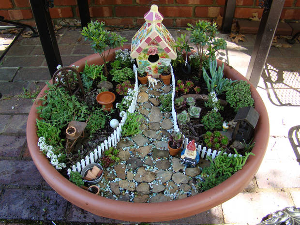This is one of Jennifer Crotty�s miniature fairy gardens. Photos provided