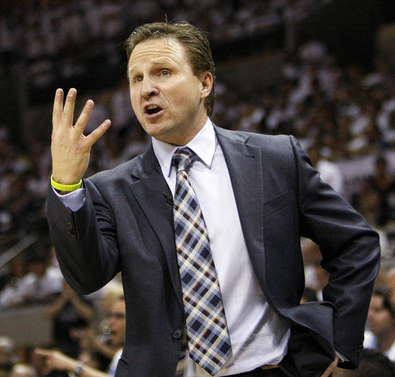 Oklahoma City head coach Scott Brooks complains to an official during Game 5 of the Western Conference Finals between the Oklahoma City Thunder and the San Antonio Spurs in the NBA basketball playoffs at the AT&T Center in San Antonio, Monday, June 4, 2012. The Thunder won, 108-103. Photo by Nate Billings, The Oklahoman