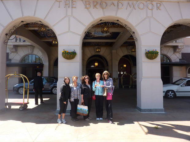 The Broadmoor hotel will host a Women's Weekend of Wellness April 14 to 16. Here, a group of women pose for a photo during a similar event last year at the hotel. Photo provided. <strong></strong>