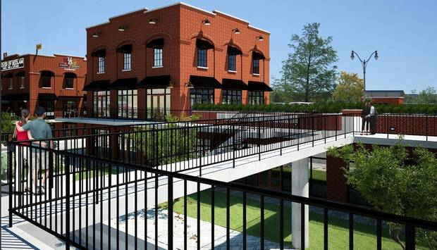 Chris Johnson has scrapped his proposed development along the Bricktown Canal, as shown in this drawing, and is now trying to sell the property. Drawing Provided