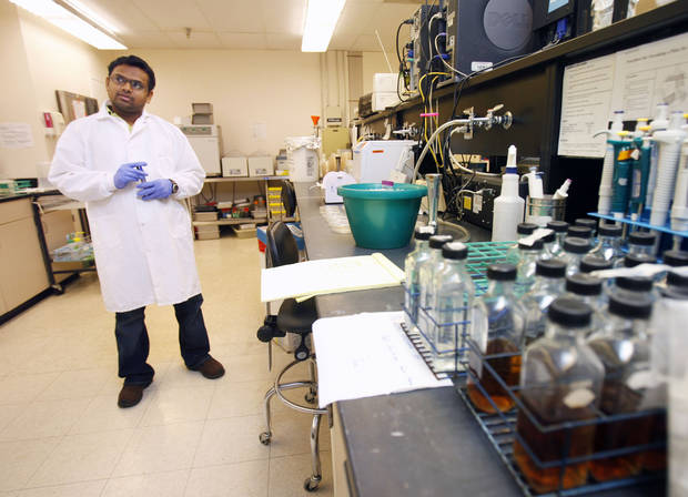VPhD. Student Paul Priyesh Vijayakumar talks about the testing lab at OSU's Robert M. Kerr Food & Agricultural Products Center on the campus of Oklahoma State University in Stillwater, OK, Thursday, June 28, 2012,  By Paul Hellstern, The Oklahoman