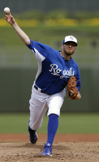 Kansas City Royals starting pitcher Wade Davis throws against the Los Angeles Dodgers during the second inning in an exhibition spring training baseball game Wednesday, March 20, 2013, in Surprise, Ariz. (AP Photo/Gregory Bull)