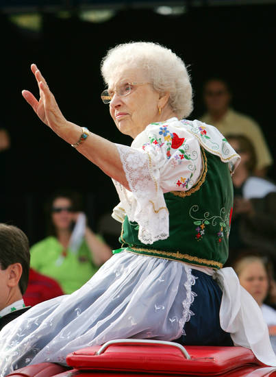 Parade Grand Marshal Delphine Zajic waves to the crowd during the 2009 Czech Festival parade in Yukon.  PHOTO BY STEVE GOOCH, OKLAHOMAN ARCHIVE