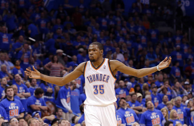 Oklahoma City's Kevin Durant (35) argues for a call during Game 5  in the first round of the NBA playoffs between the Oklahoma City Thunder and the Houston Rockets at Chesapeake Energy Arena in Oklahoma City, Wednesday, May 1, 2013. Photo by Sarah Phipps, The Oklahoman