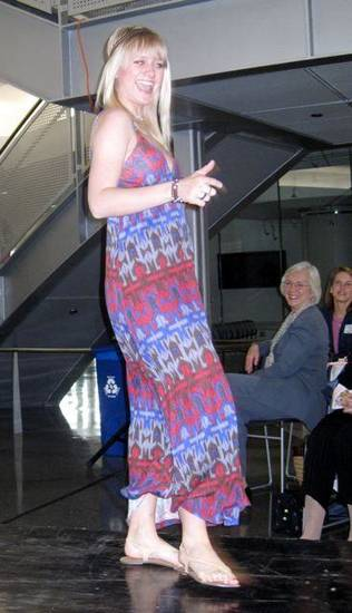 PANHELLENIC BRUNCH/VINTAGE FASHIONS....Modeling vintage fashions.  (Photo by Helen Ford Wallace).