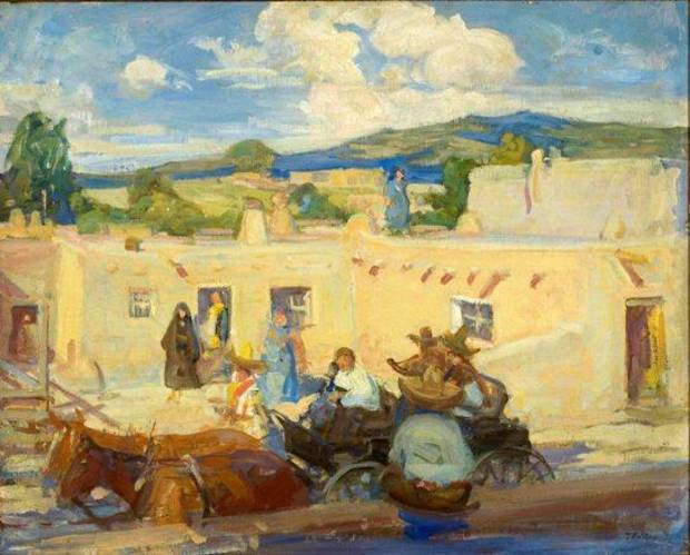 "The 1915 oil painting ""Santa Fe"" is part of the exhibit ""Allen True's West"" at the National Cowboy and Western Heritage Museum."