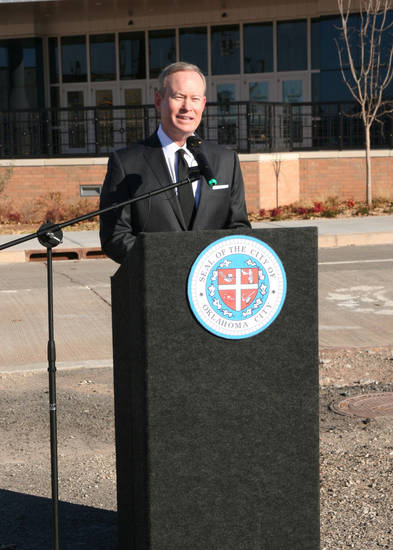 Oklahoma City Mayor Mick Cornett speaks Thursday in front of Chesapeake Energy Arena after it was announced he will receive a national urban design leadership award. Photo provided &lt;strong&gt;PROVIDED&lt;/strong&gt;