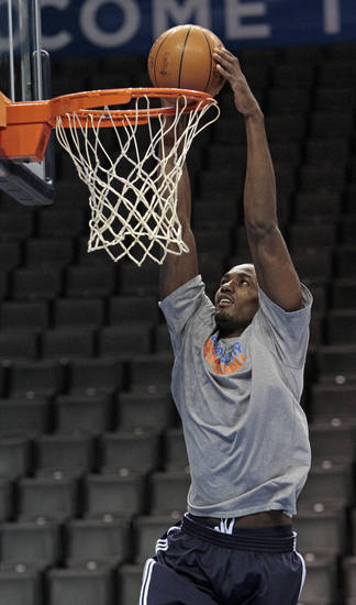 Oklahoma City Thunder's Serge Ibaka dunks during practice in preparation for game two of the NBA basketball finals at the Chesapeake Arena on Wednesday, June 13, 2012 in Oklahoma City, Okla.  Photo by Steve Sisney, The Oklahoman