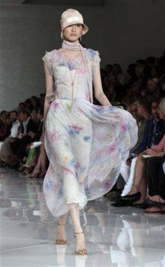 The spring 2012 Ralph Lauren Collection is modeled during Fashion Week in New York, Thursday, Sept. 15, 2011. (AP Photo/Richard Drew)