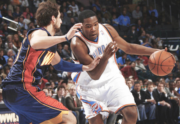 Oklahoma City's Kevin Durant, right, is working on his deficiencies and developing as a player. BY NATE BILLINGS, THE OKLAHOMAN