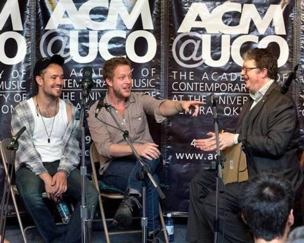 ACM@UCO hosted a master class with Ben Lovett and Ted Dwane of Mumford & Sons at Byron Berline's Music Hall in Guthrie on Sept. 6. Pictured from left to right are Ben Lovett and Ted Dwane of Mumford and Sons with Scott Booker, CEO of ACM@UCO. (AMC@UCO photo)