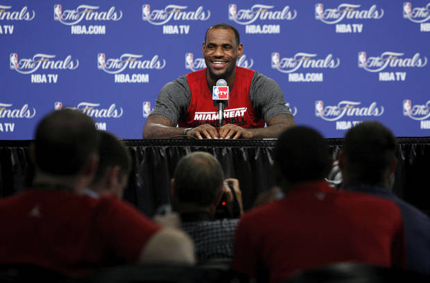 Miami's LeBron James answers a question during media and practice day for the NBA Finals between the Oklahoma City Thunder and the Miami Heat at the Chesapeake Energy Arena in Oklahoma City, Monday, June 11, 2012. Photo by Nate Billings, The Oklahoman