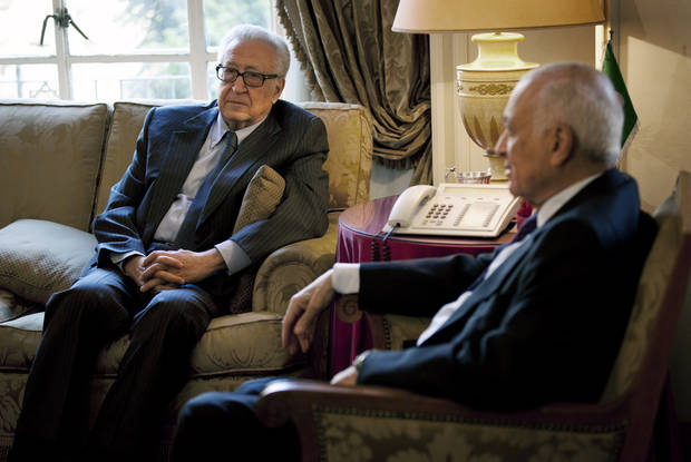 Arab League Secretary-General Nabil Elaraby, right, meets with U.N.-Arab League envoy to Syria Lakhdar Brahimi at the Arab League headquarters, in Cairo, Egypt, Sunday, Feb. 17, 2013. Brahimi, and Elaraby threw their weight behind the call for a dialogue to resolve the Syrian conflict made by Moaz al-Khatib, president of the opposition coalition. The rise of Islamic fundamentalists among the rebels makes many among Syria's minorities � including Alawites, Shiites, Christians, Armenians and others � fear that a rebel victory could leave them with no place in Syria. (AP Photo/Nasser Nasser)