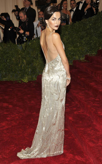 Camilla Belle arrives at the Metropolitan Museum of Art Costume Institute gala benefit, celebrating Elsa Schiaparelli and Miuccia Prada, Monday, May 7, 2012 in New York. (AP Photo/Charles Sykes)