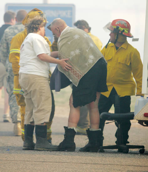 David Milby, 60, of Stillwater, a member of the Iowa Tribe Fire Department, was burned over 26 percent of his body Thursday fighting grassfires in the Wellston area. Milby's fire truck caught on fire as well. Milby is in critical condition at Integris Baptist Medical Center in Oklahoma City, according to a hospital spokeswoman. Wind-whipped grassfires Thursday burned across western and central Oklahoma, damaging structures, forcing the closure of Interstate 35 and leading to evacuations of residences in the fires' paths. April 09, 2009.  Photo by Steve Gooch, The Oklahoman