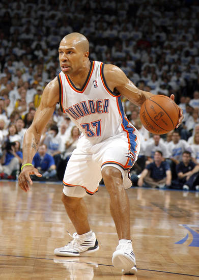 Oklahoma City's Derek Fisher (37) dribbles up court during Game 2 of the first round in the NBA basketball playoffs between the Oklahoma City Thunder and the Dallas Mavericks at Chesapeake Energy Arena in Oklahoma City, Monday, April 30, 2012. Photo by Sarah Phipps, The Oklahoman