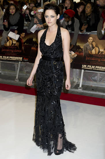 U.S actress Kristen Stewart arrives for the UK premiere of 'Twilight Breaking Dawn Part 1' at a central London venue,  Wednesday, Nov. 16, 2011. (AP Photo/Jonathan Short) ORG XMIT: LJS105