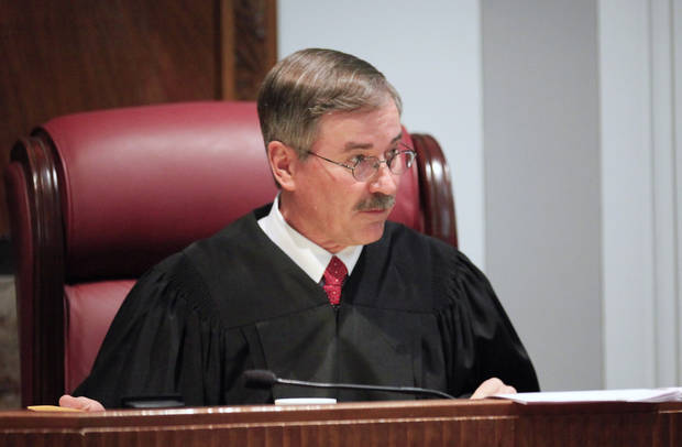 Oklahoma County District Judge Ray Elliott is seen in the courtroom today. Photo by Paul B. Southerland