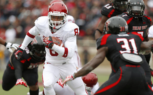 Oklahoma's Dominique Whaley (8) runs the ball during a college football game between the University of Oklahoma (OU) and Texas Tech University at Jones AT&T Stadium in Lubbock, Texas, Saturday, Oct. 6, 2012. Oklahoma won 41-20. Photo by Bryan Terry, The Oklahoman