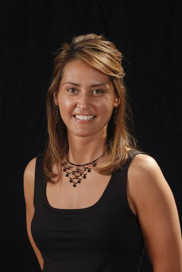 Assistant coach Miranda Serna with the 2008-09 Oklahoma State University (OSU) Cowgirls women&#039;s college basketball team. Mug shot. Provided by Oklahoma State University