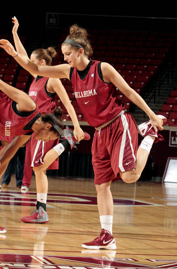 University of Oklahoma (OU) women's basketball player Morgan Hook warms up during practice for first round of the NCAA Women's Basketball Championship Tournament at the Lloyd Noble Center on Saturday, March 17, 2012, in Norman, Okla.   Photo by Steve Sisney, The Oklahoman